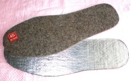 ALUMINUM FOIL INSOLES FOR SHOES ANY SIZES Thickness 7mm Natural Wool 100/% FELT