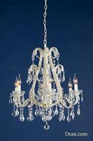 Dusx Marie Therese Cream Crack French Glass Large 6 Arm Chandelier Ceiling Light