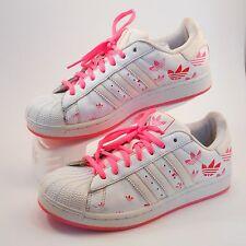 Adidas Superstar Sneaker in White/Pink  Size 7.5 Women's Club Toe,Trefoil