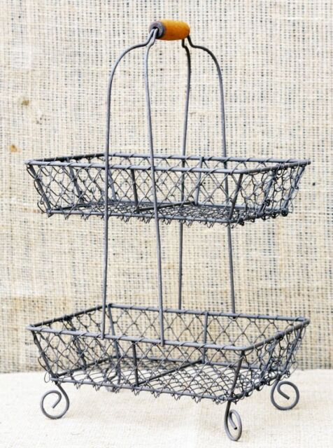 Vintage Chic French Country Metal 2 Tier Wire Basket Organizer Food Kitchen Bath
