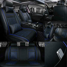 Universal Car Seat Cover Pu Leather 5 Sits Suv Truck Cushions Black Amp Blue Line