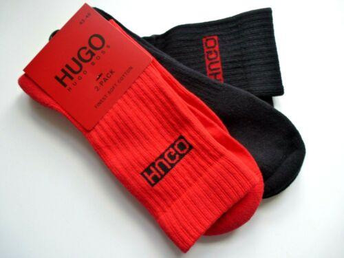 2 PAIA-Originale Hugo Boss Rosso//Nero Rib Crew Socks Finest cotone 5-8 o 8-11