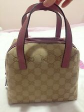 Gucci Original Classic Pattern Canvas Tote Pink Small Zip Double Leather Bag