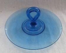 DEPRESSION GLASS DARK BLUE ROUND HANDLED SANDWICH TRAY