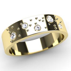 New Fizzy Diamond Set 9ct Yellow Gold Flat Band Wedding Rings