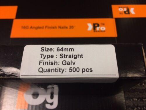 2500 X mixte droite 16 G 2nd Fix Ongles Pour Tous 16 G cloueuses 500 de chaque Taille