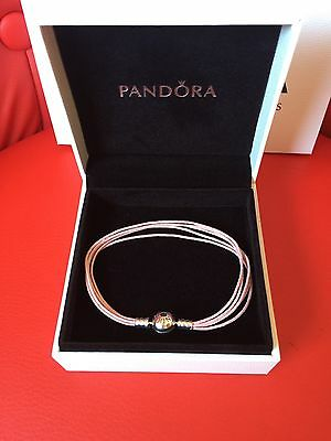 Genuine PANDORA Multi-Strand Cotton Cord PINK Bracelet Size L 20cm
