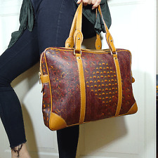 vintage ESCADA Laptop Tasche Handtasche Paisley Print mit Leder Bag Handbag