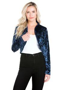 Fashion Secrets Women Navy Blue Open Velvet Velour Bolero Shrug Cardigan Jacket