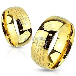 Stainless-Steel-14k-Gold-IP-Lord-039-s-Prayer-amp-Cross-Classic-Ring-Band-Size-5-13