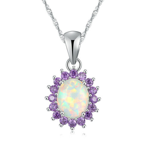 """White Fire Opal Amethyst Women Jewelry Gemstone 925 Pendentif En Argent 7//8/"""" OD5561"""