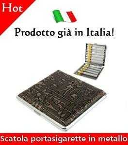 Scatola Portasigarette In Metallo Porta Sigarette Con Disegno Egizi