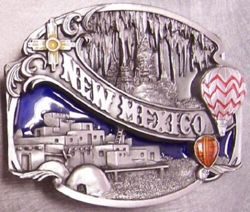 Pewter Belt Buckle State of New Mexico colored NEW