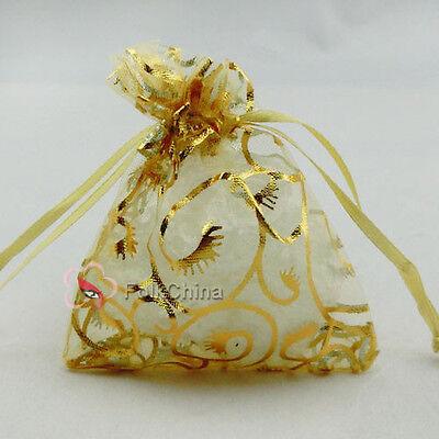 Gold Bine Yellow Organza Wedding Favour Gift Bags Pouches 7x9,9x12,13x17cm
