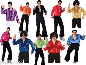Hombre-Disco-Camisa-Con-Volantes-FEVER-DISFRAZ-Metalico-Anos-70-1970s-S-M-L-XL
