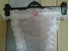 White Nylon Tanga Posing Pouch Panties Sissy CD TV Available in any size