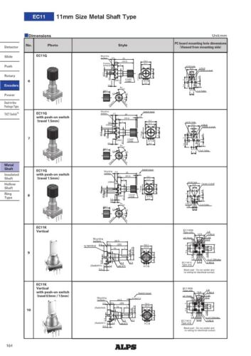 3x Inkremental EnCoder 18fach ALPS EC11 mit Taster