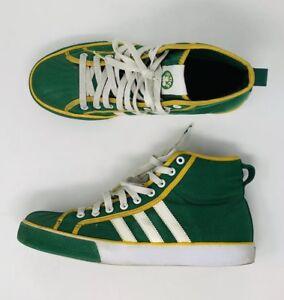 cd620f6427e Adidas Boston Celtics NBA Sz 10 M Green Yellow White High Top ...