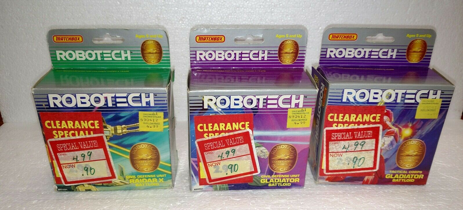 1985 MATCHBOX ROBOTECH BATTLOID LOT OF 3 IN BOX