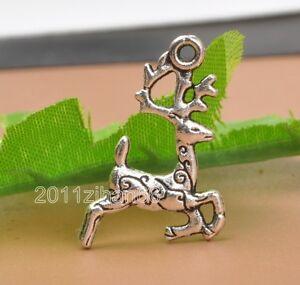 20pcs-Tibetan-silver-Sika-deer-charm-pendant-pendants-14x20mm-B3353