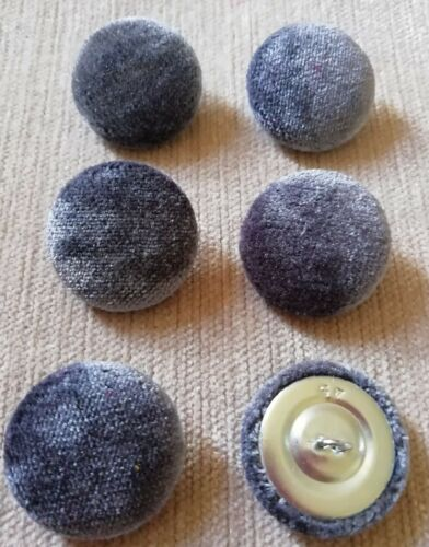 Grey Crushed Velvet 45L//28mm Steel Upholstery Fabric Covered Buttons