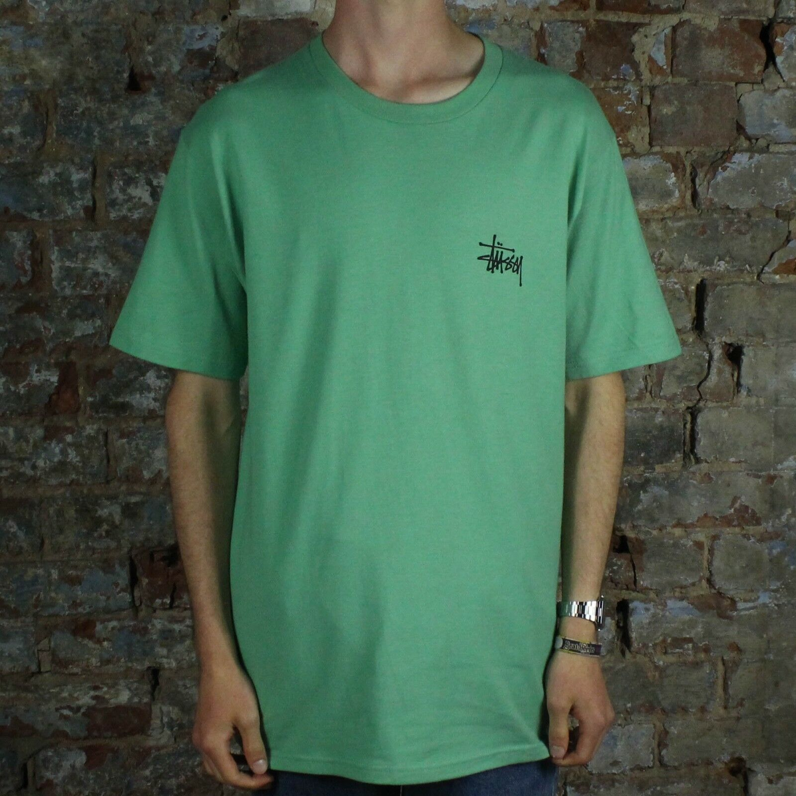 Stussy Basic T-Shirt Tee Brand New in Moss in Größe S,M,L,XL