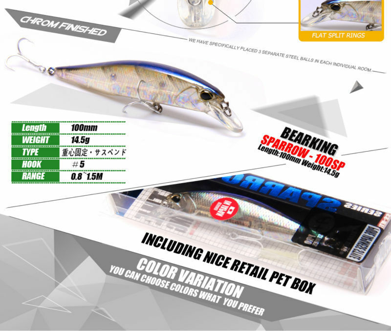LOT OF 4 BEARKING FISHING LURES PROFFESIONAL MINNOW  BAIT 14.6 Gr , 10 Cm  a lot of concessions