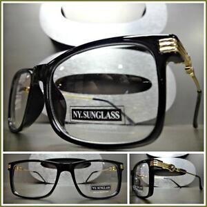 Hombre Clásico Estilo Retro Vintage Lente Transparente Gafas Pequeño Negro y Oro