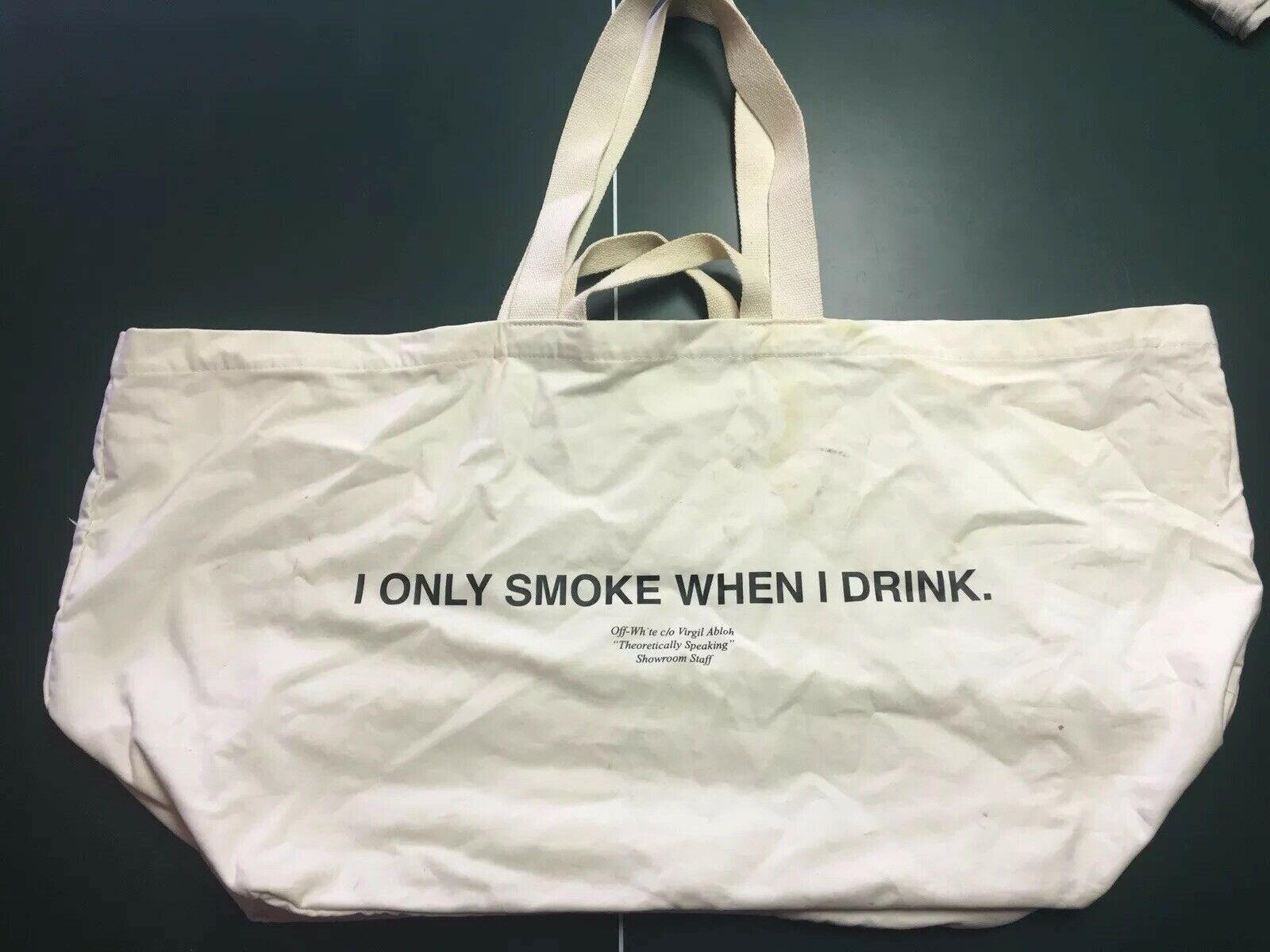 """Off-White c/o Virgil Abloh """"I Only Smoke When I Drink"""" Garment Tote 2014"""