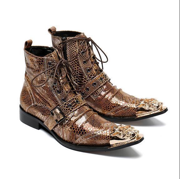 Para hombres cuero impresa con estilo metálico Hebilla Correa Con Cordones botas al Tobillo Calzado T70