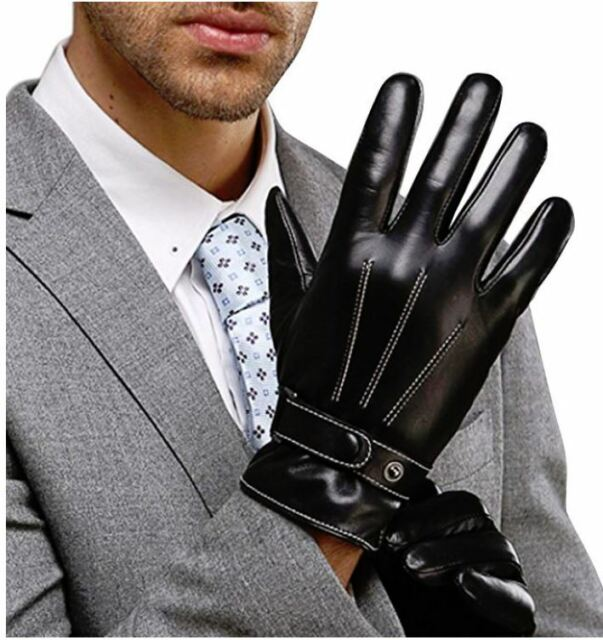 Genuine Soft Nappa Leather Quality Black Gloves Gents Ladies Driving Winter Warm