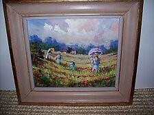 """Vintage Art Original Oil Landscape Figures Painting 10"""" x 12"""" Signed Framed"""