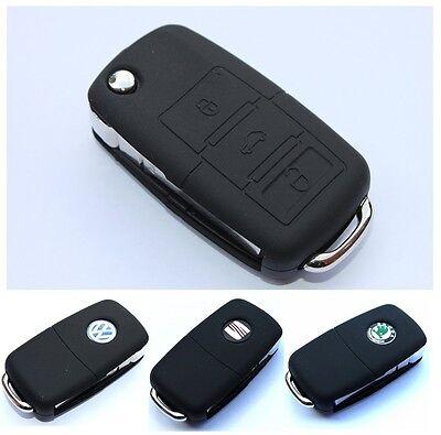 VW Seat Skoda Flip Key Case Cover Car Silicone Skin Rubber VAG Shell Hub B New