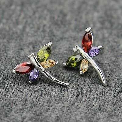 18k White Gold GP Use Swarovski CZ Crystal Dragonfly Stud Earrings
