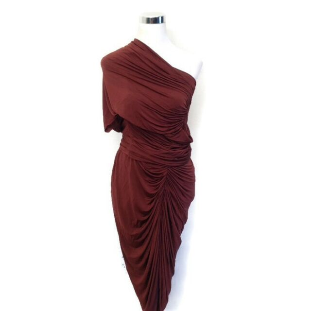 ALEXANDER WANG Dress 6 Red Rust Brown One Shoulder Draped Ruche Women's Cocktail