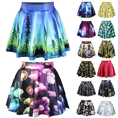 Women Pleated Printed Short Mini Skirt SEXY Summer Swing Skater Flared Dresses