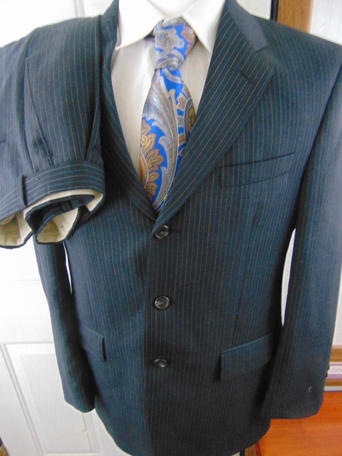 (40R) Lauren Ralph Lauren grau Wool Pinstripe 2 Piece Suit Pants 35X32.5 EXC