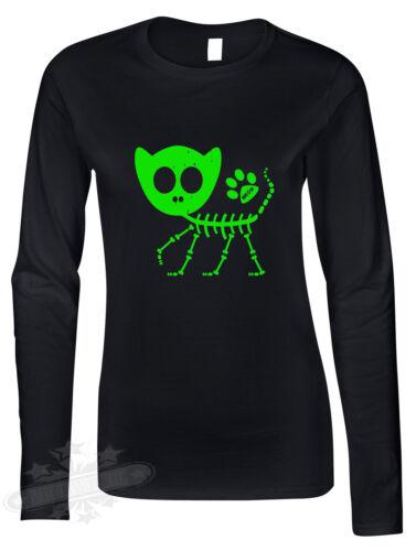 Halloween skeleton cat kitten tattoo got ladies long sleeve t shirt fancy dress