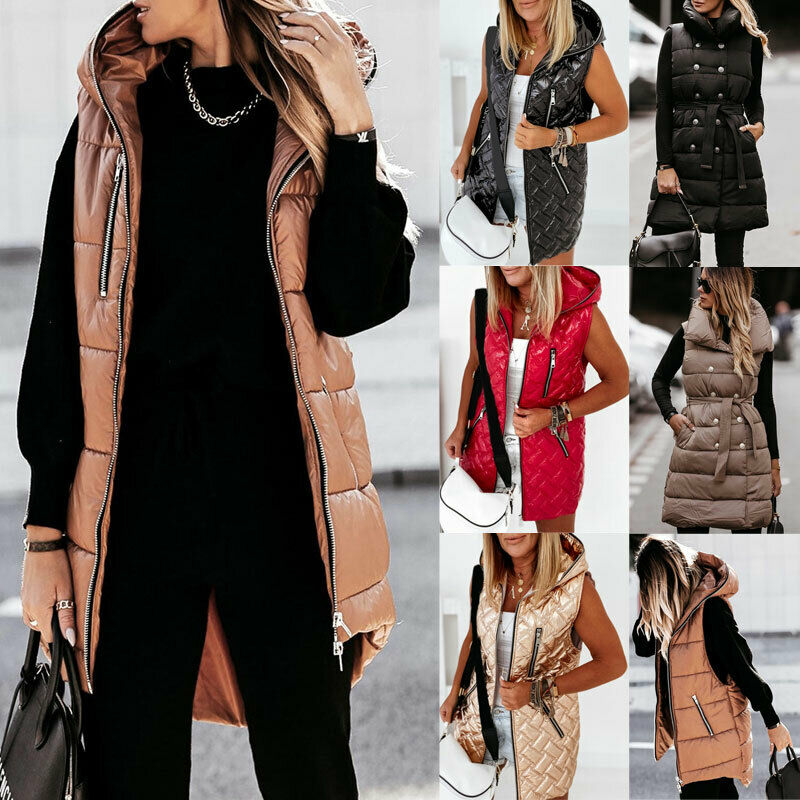 UK Womens Hooded Padded Quilted Gilet Waistcoat Winter Sleeveless Vest Jackets