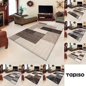 Kurzflor-Teppich-in-Beige-Karo-Modern-Designer-Wohnzimmer-Teppich-Kariert-NEU