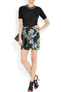 NWT-Elizabeth-and-James-Black-Scuba-Floral-print-Neoprene-Mini-Skirt-325-Sz-L