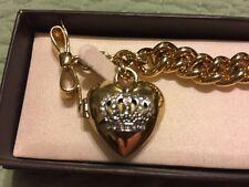 Juicy Couture Gold Crown Locket heart charm bracelet VGC