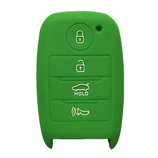 Green Silicone Key Cover Case Holder Chain Bag fit for Kia Smart 3 Buttons Key