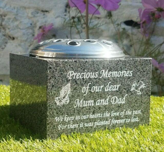 Personalised Cross Memorial Stone Heart and Flowervase Holder Garden Cemetery