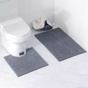 Details About Bath Bathroom Mat Rug Non Slip Soft Chenille Mildew Protect Toilet Floor Us