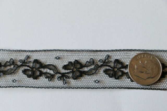 Antique French 19thC Never Used Black Chantilly Lace Trim Yardage~12 yds  X 3/4