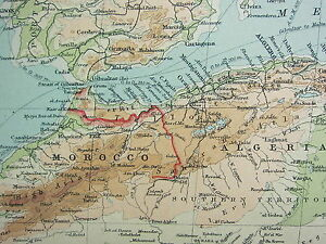 1921 LARGE MAP ~ NORTHERN AFRICA ~ MOROCCO ALGERIA TUNIS LIBYA IVORY ...