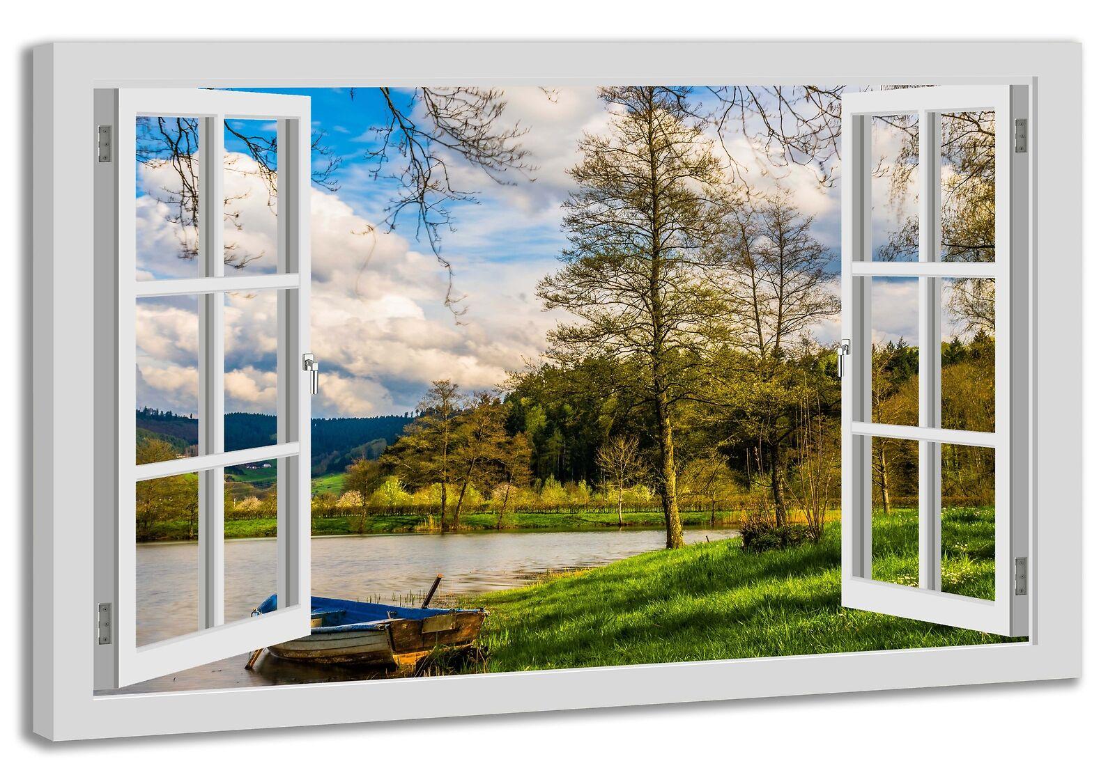 Leinwandbild Wandbild Fensterblick See Stiefel Wasser Bäume  Landschaft