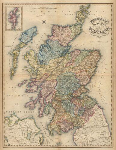 SCOTLAND  Replica Map Print c1840 Unusual GIFT Free UK P/&P