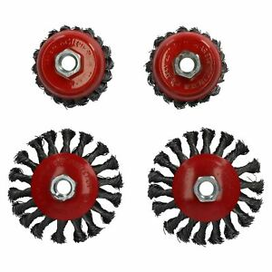 """4PC 4/"""" Bevel Twist Knot Wire Cup Wheel Brush 5//8/""""-11 Arbor Rust Removal Grinders"""